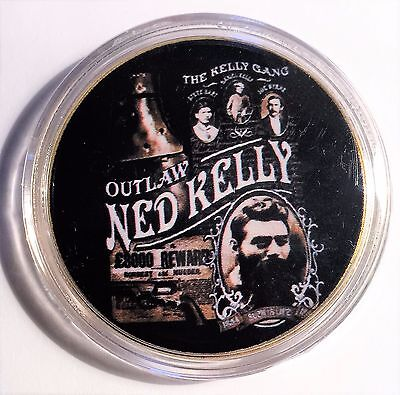"""NED KELLY"" Colour Printed 999 24k Gold plated coin, Outlaw Ned Kelly (10)"