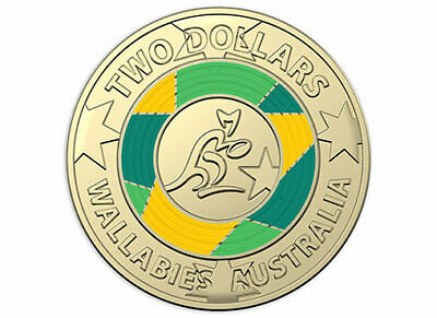 2019 $2 WALLABIES COIN IN 2x2 HOLDER RUGBY WORLD CUP TWO DOLLAR COIN