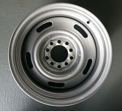 "15"" Steel Rally Satin Silver Rim 15x9  +6et  Multi Pattern Ford Chev HQ"