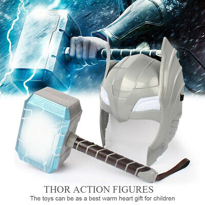 LED Glowing And Sounds Thor Hammer Helmet Mask Kids Cosplay Toys Action Figure