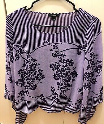 Alfani Womens Fitted Waist Floral Violet Blouse Small