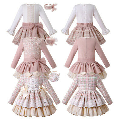 UK Store Spanish Girls Lace Pleated Dress Christmas Wedding Party Pageant Gown