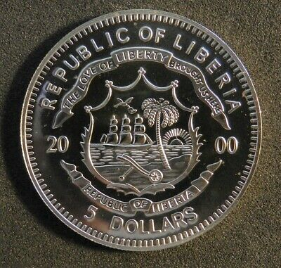 2000 Liberia $5 Dollar Coin Commemorating 1941 Attack On Pearl Harbour