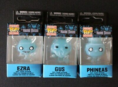 Lot of 3 Funko Pocket Pop Keychain Phineas, Ezra, & Gus - The Haunted Mansion