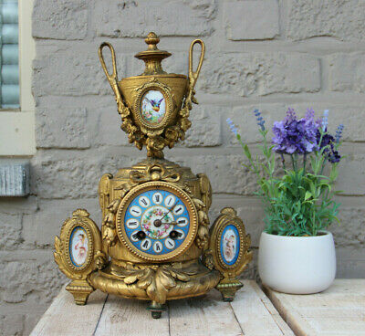 Antique french Spelter bronze porcelain sevres putti medaillon clock