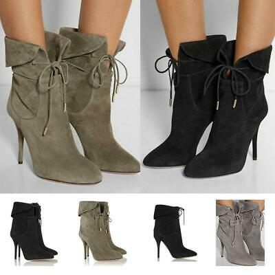 NEW Womens Black Gray Sexy Slim High Heel Shoes Solid Suede Ankle Boots Lace Up