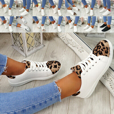 Womens Ladies Lace Up Sneakers Trainers Casual Plimsolls Party Shoes Size