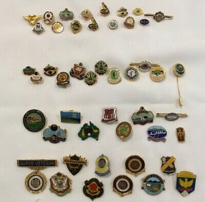 Collection Of 47 Vintage Nsw Bowling Club & Sporting Club Badges & Pins