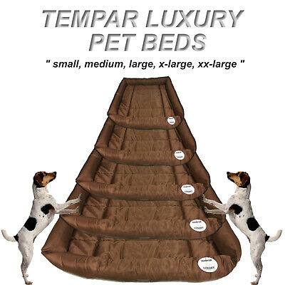 New Brown Tempar Luxury Water Resistant Soft Dog Pet Basket Bed Cushion 5 Sizes