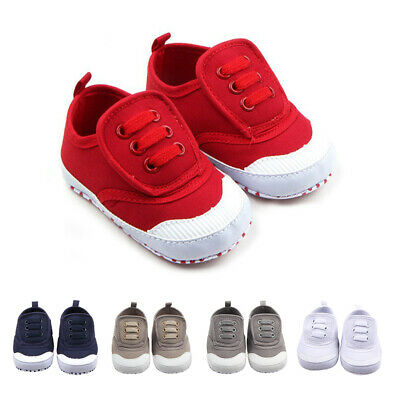 Newborn Baby Boy Girl Crib Pram Shoes PreWalker Soft Sole Slippers Trainers 0-12