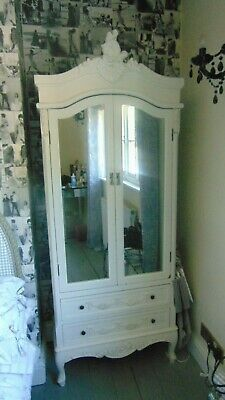 French Style White Armoire Shabby Chic Style, mirrored doors (one of a pair)