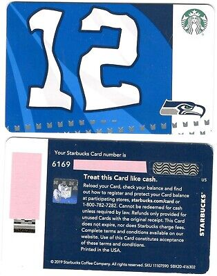"New, 2019 Starbucks NFL Seahawks "" 12th Man"" Gift Card"