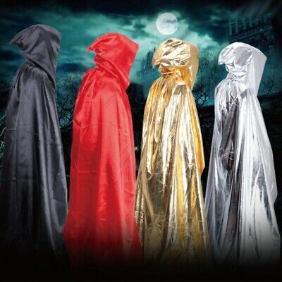 Medieval Hooded Cloak Wizard Witch Long Robe Halloween Cosplay Cloak Costume UK