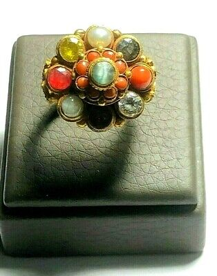 Antique Genuine Emerald Ruby Citrine red Coral Navaratna 18K Gold Silver Ring