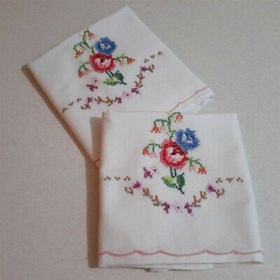 Pair Vintage White Cotton Floral Embroidered Pillow Cases - Excellent Condition.