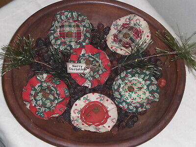 6 Primitive Flowers Christmas Red Green Bowl Fillers Ornaments Ornies Tucks