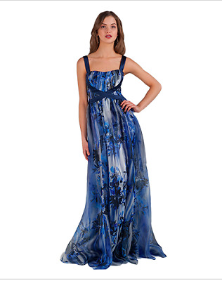 NWT Badgley Mischka Runway Dress Womens 6 Floral Print Evening Gown Blue EG1256