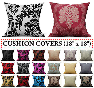 Decorative Damask Flock Cushion Covers & Filled Cushions Home Decor Sofa Throw