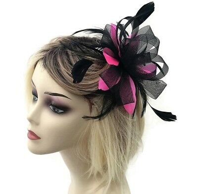 Beautiful Black and Fuchsia Pink Net Bow & Feather Hair Comb Slide Fascinator