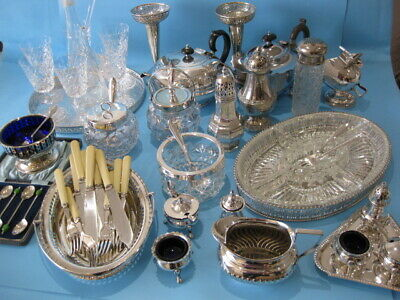 Really Nice Large Job Lot Ornate Antique & Vintage Silver Plated Items & Cutlery
