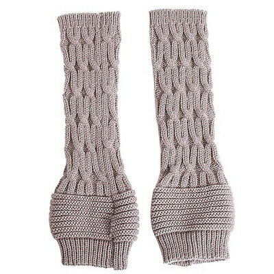 Elastic Winter Candy Color Fingerless  Mittens Long Knitted Gloves Arm Warmers