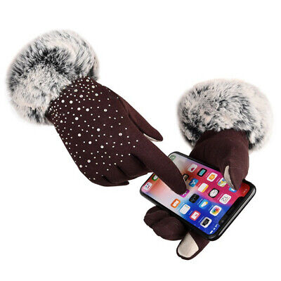 Rhinestone Windproof Faux Fur Gloves Cashmere Gloves Shiny Touch Screen Mittens