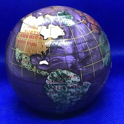 """World Globe Paperweight Showing Countries, Continents, Oceans, 2 3/4"""""""