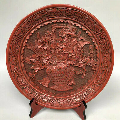 Chinese Old Antique Lacquer Ware Wooden Handcarved TRAY Furnishing Articles