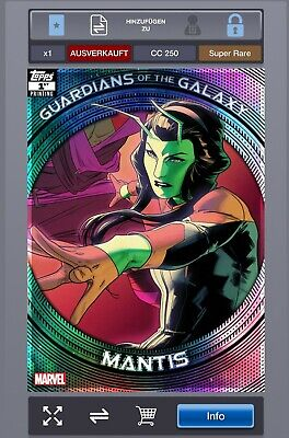 Marvel collect topps guardians 1st print super rare 250cc Mantis