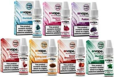 88 Liquid 50/50 PG/VG - Various Flavours Box of 20 Packs by eTrendz