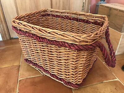 WICKER BASKET WITH RED ROPE HANDLES • LOGS TOYS SHOES HAMPER • L52cm W39cm H34cm