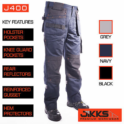 Mens Work Trousers Workwear Combat Holster Pockets Knee Guards Premium 30-42