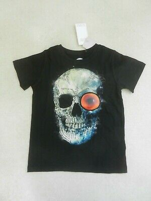 BNWT Next Boys Halloween Skull & Eye Black T-shirt Age 6 Years