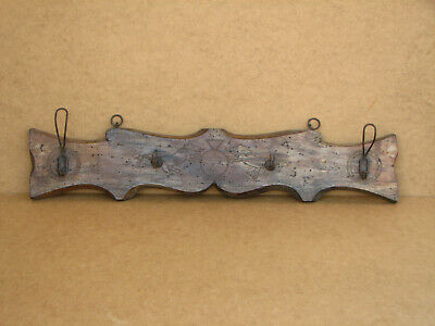 Old Antique Primitive Wooden Wood Rack Wall Hanger Door Hooks Shelf Marked 1934