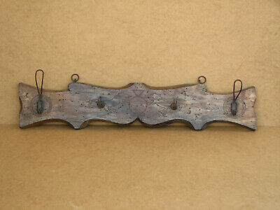 Old Antique Primitive Wooden Wood Wall Hanger Door Hooks Rack Shelf Marked 1934
