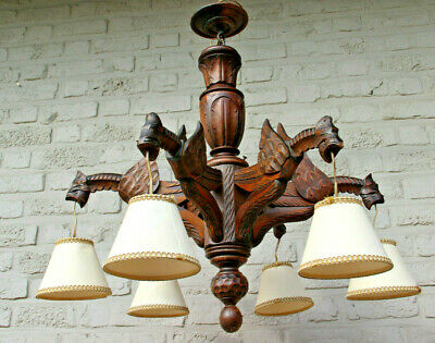 Antique french black forest wood carved gothic castle dragon chandelier