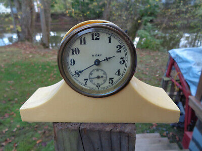 ANTIQUE VINTAGE Clock ALARM 8 DAY CELLULOID ESTATE HAUL FIND PARTS AS-IS!!!