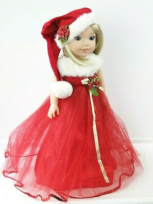 """Red Christmas Santa Dress & Stocking Hat For 14.5"""" Wellie Wishers Doll Clothes"""