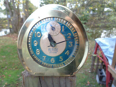 ANTIQUE VINTAGE Clock TURQUOISE ALARM INGRAHAM ALPINE DELUXE EGG SHAPE PAR AS-IS
