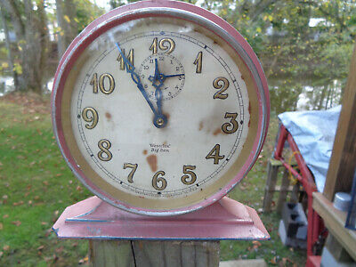 ANTIQUE VINTAGE Clock ALARM PINK WESTCLOX BIG BEN DELUXE PARTS AS-IS ESTATE FIND