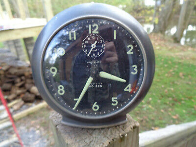 ANTIQUE VINTAGE Clock ALARM WESTCLOX BIG BEN DELUXE PARTS AS-IS BLACK ESTATE