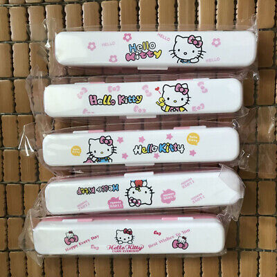 4pcs/set Cute Hello Kitty Tableware Spoon Fork Chopsticks Storage Box Gift