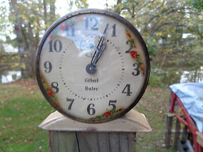 ANTIQUE VINTAGE Clock ALARM PARTS AS-IS ESTATE GILBERT RULER FLORAL MOTIF