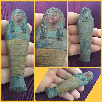 Very rare ancient Egyptian ushabti shabti with hieroglyphics, c664-3