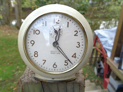 ANTIQUE VINTAGE Clock ALARM PARTS AS-IS ESTATE WESTCLOX BABY BEN CREAM COLOR