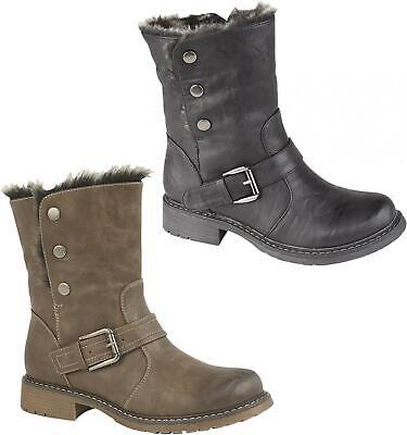 Cipriata ANDREANA Girls Warm Faux Fur Soft Lined Zip Up Winter Boots Black/Brown