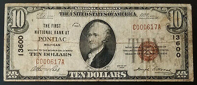 1929 $10 National Currency from The First National Bank At Pontiac, Michigan!
