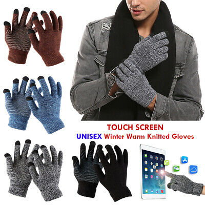 Stretch Non-slip Touch Screen Full Finger Mittens Wool Knitted Warm Gloves