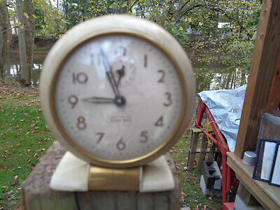 ANTIQUE VINTAGE Clock ALARM PARTS AS-IS ESTATE WESTCLOX BABY BEN USA CREAM GOLD