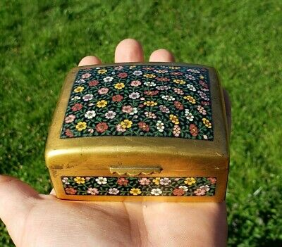 Antique Chinese Or Japanese Gilt Bronze Cloisonne Box With Flowers